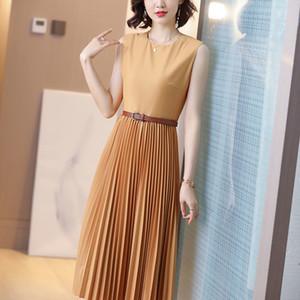 Casual sleeveless pleated dress 2020 summer self-cultivation high waist thin large gray A skirt women skirt