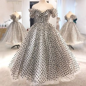 Sweety Lace-up Dot Tulle Prom Party Dresses Cheap 2020 Off The Shoulder Pleated Ruched A-line Evening Formal Dress Girls Special Occasion