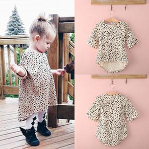 Casual Manga larga Colorido Moda Niños Bebé Niño Vestidos para niñas Ropa Leopardo de verano Vestido corto de algodón 0-5 T Infant Girl