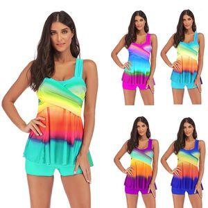 Suits Artı boyutu Renkli Kadınlar Tankinis Yaz Skinny Seksi Tasarımcı Bayanlar Casual Sıcak Kadın Bathing Mayo