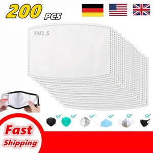 200PCS PM2.5 Filter for face mask Anti Haze Mouth Mask Replaceable Filter-slice 5 Layers Non-woven Activated Carbon Filter Masks Gasket AB02