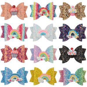 3 pulgadas bebé arco horquillas de lentejuelas fruta mariposa arco iris pastel de pelo apretones niños niñas pinzas para el cabello niños accesorios para el cabello Barrettes C6823
