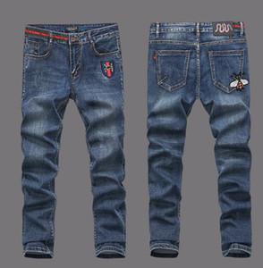 de Nova Men Fashion Designer de Homens Jeans afligido Moto Denim Corredores Lavados plissadas Jean calças tamanho 28-40