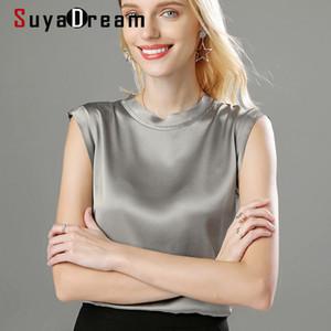 SuyaDream Женщины Шелк Танки 100% Real Silk Satin рукавов Твердая Tank Tops 2020 Летняя Elegent Жилеты