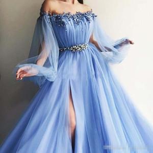 Fuera de los vestidos de noche de hombro 2019 soplo de mangas apliques con abalorios tul, split, luz, azul, vestido de fiesta, vestidos de fiesta de lavanda