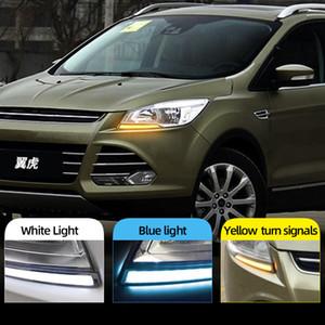 2pcs llevó la luz del día de circulación diurna DRL para Ford Kuga escape 2014 2015 2016 2017 con la señal de giro amarillo