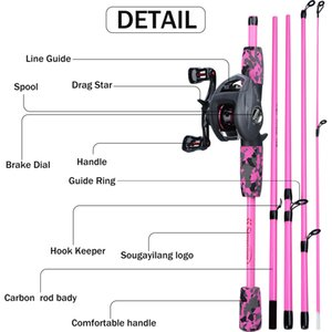 Sougayilang 170cm 2 Color Fishing Rod Combo Portable 5 Section Carbon and 6.3:1 Gear Ratio12+1bb Casting Reel Set