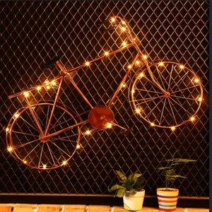 Decoración de la vendimia del hierro de bicicletas con luz de pared que cuelga Retro Cafe Bar KTV decoración de la decoración del hogar Accesorios para sala de estar