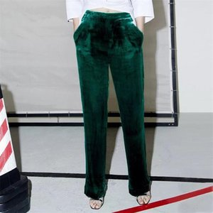 2020 Autumn Spring gold Velvet elastic waist casual pants velour Solid pants trousers straight trousers Slim big size m-6xl 7xl