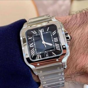 عارضة ساحة الساعات 40MM جنيف حقيقية الفولاذ المقاوم للصدأ الساعات الميكانيكية حالة وسوار أزياء الرجال الساعات ذكر ساعة اليد هدية