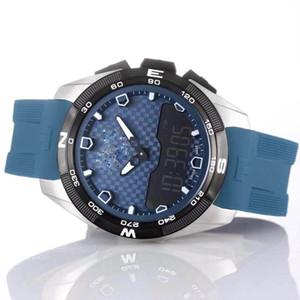 도매 T 터치 전문가 태양 T091 블루 크로노 그래프 석영 블루 고무 스트랩 배포 걸쇠 남성 시계 손목 시계 남성 시계 다이얼