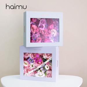 Criativa retângulo translúcido embalagem caixa caixa Boiuquet Flor do favor do casamento Decoração Presentes Pacote florista Caixas