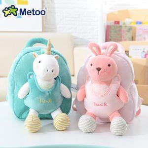 Plush Backpack Metoo Boneca bonito do bebê meninas dos desenhos animados Stuffed Toy Kawaii animal para Kid Crianças Escola ombro MX200327 Bag In Kindergarten