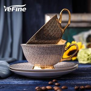al por mayor de alta calidad de porcelana tazas de café y tazas de cerámica de la vendimia Y Platillos Conjunto chino taza de té Vasos para el café