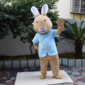 Peter traje de la mascota trajes de la mascota del conejo de conejito de Navidad Unisex Las mascotas del juego del vestido de lujo para adultos animales prieta fiesta de Halloween de Purim