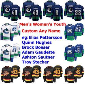 Vancouver Canucks Maglie Donna Bambini Jake Virtanen Jersey Jordie Benn Alexander Edler Oscar Fantenberg Myers Hockey pullover su ordinazione cucita