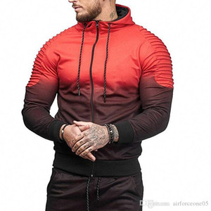 Mens Fashion Frühling Hiphop Tracksuits beiläufige Sport-Tops Gestreifte Folds 3D Printing Gradient Male Hoodie For Sale