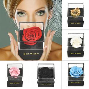 Handmade preservada real Rose Jóias Box Titular Immortal Flowers Forever aniversário do casamento da flor Gift Set por Mulheres