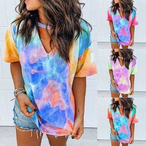 Sexy Women Tie Dye Printing Sport Shirts Casual Fitness Gym Yoga Top Running musculation Short sleeve T-Shirts basketball jersey
