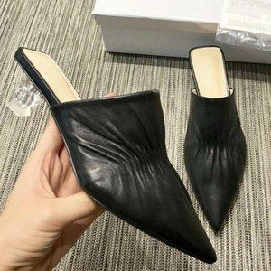 2019 nouvelles pantoufles sandales Baotou haute qualité des chaussures des femmes portent des talons moitié glisser pointus en haute sandales d'été avec la boîte originale qa