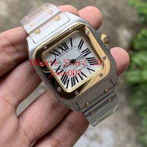 Lady 100 XL-Edelstahl-Uhr Automatik-Uhrwerk mechanische 2 Tone-Kasten Männer Sport Original-Haken-Armbanduhr