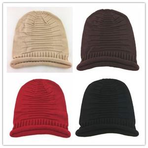 men and women Knit Skull Hat Ladies Winter Wool cap fold Soft Beanies Cap Outdoor Casual Warm KnittedSki Cap EEA557