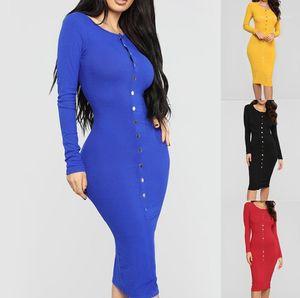 ملابس النساء النحيفة المثيرة النساء المصممات الفساتين الخريفية أزياء الحلوى لون ملابس Bodycon