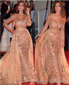 2020 luxe arabe manches longues robes de soirée avec jupe amovible à encolure dégagée Paillettes Moyen-Orient Prom Party Robes formelles Pageant