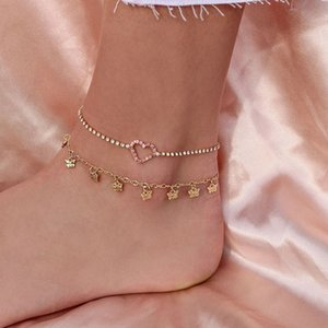 Sweet Women Anklets Set Heart Pink Crystal Butterfly Tassel Pendant Gold Anklet Fashion Beach Party Jewelry Accessories
