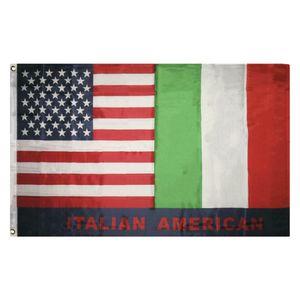 Flag Italian American EUA Itália Amizade bandeira bandeira 150X90CM 100D Polyester flag guarnições de latão personalizado, frete grátis