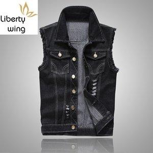 Erkek Yelek Yeni Moda Yaz Sıcak Satış Slim Fit Sıkıntılı Kolsuz Gilet Homme Kore Stil Gündelik Biker Man Denim Vest