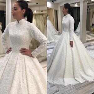 2020 Blanc arabe musulman dentelle perlée robes de mariée col montant manches longues robes de mariée sexy vintage Robes de mariée