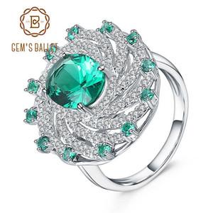 Ballet de gema 925 anillo de piedras preciosas de plata esterlina para las mujeres nano esmeralda verde forma espiral vintage anillos joyería fina j190709