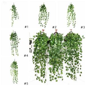 Artificial Ivy Foliage Green Leaves Gefälschte Hängen Emalation Blumen-Rebe Pflanze Rattan Hochzeit Gartendeko Wand befestigter Versorgung DHD327