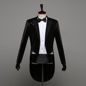 Men Sequin Slim Fit Tailcoat Suit Jackets Prom Formal Stage Performance Tuxedo Full Dress Singer Wedding Blazer Coat DT1468