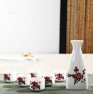 Sake giapponese set di mano di fiori dipinto di vino in ceramica Coppe elegante bottiglia Sake pentola Drinkware doni della moda piatto: 150ml / tazza: 25ml