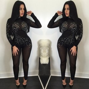 Calças Thefound Moda Mulheres Sexy Casual manga comprida Bodycon Romper Jumpsuit Clube Bodysuit longas