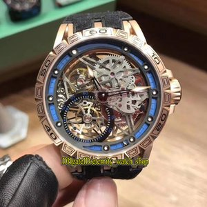 14 Color Luxry Excalibur 42 RDDBEX0549 Skeleton Tourbillon Dial Japan Miyota Automatic Mens Watch Rose Gold Leather Band Sport Watches 14