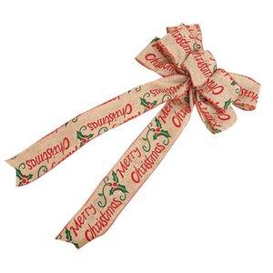 Christmas Decoration Bow Pendant Holiday Ornaments Festival Christmas Tree Burlap Bowknot