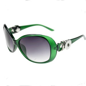 Green Snap Button Sunglasses Retro Oval Glasses Eyewear Sunglasses Fit 18mm Snap Button for Women Jewelry Pet Supplies