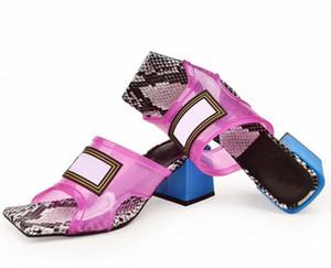 Yeni Klasik Jöle Terlik PVC Üst Deri Kristal Sandalet Slaytlar Yaz Kapalı Kontrast Renk Serpantin Şeffaf Terlik Ayakkabı