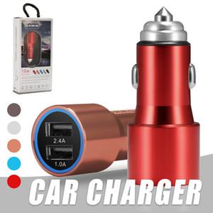 Chargeur voiture en alliage d'aluminium double USB Chargeur voiture de sécurité Marteau 5V 2.1A pour iPhone Samsung Xiaomi Sony avec Huawei packge
