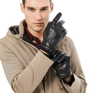Men Genuine Sheepskin Leather Gloves Autumn Winter Warm Touch Screen Full Finger Black Gloves High Quality