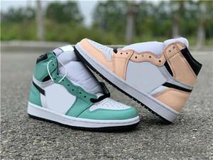 Mais recente lançamento da marca de incompatibilidade de 1 alta OG WMNS hortelã-de-rosa luz verde casual sapatos para as sapatilhas das mulheres Sports