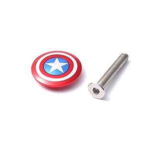 """자전거는 28.6mm 1 1/8 """"헤드 튜브에 적용 볼트 캡틴 아메리카 스파이더 로고 미국 국기와 함께 상단 캡 헤드셋 커버 줄기"""
