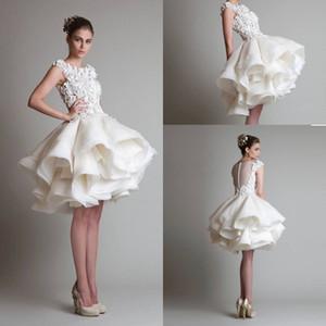 Abiti da sposa 2020 Button Neck pizzo applique Jewel posteriore sexy increspature brevi abiti da sposa per la sposa