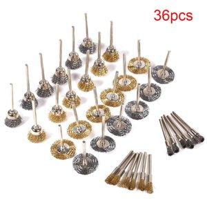 36Pcs Brass Brush Steel Wire Wheels Brushes Drill Rotary Tools Polishing Dremel Metal Rust Removal Set