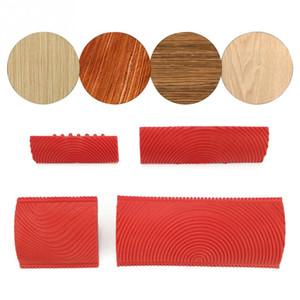 2pcs / set imitación del grano de madera Cepillo del rodillo de pintura del jardín Conjunto de cepillo edificio de oficinas pared del arte de la textura de la pintura del sistema de herramienta