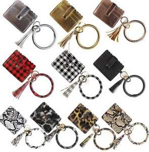 PU Leather Bangle Bracelet Card Bag Wallet Keychain Wristlet Keyring Leopard handbag Leather Bracelet Credit Card Holder With Tassel EEA1665