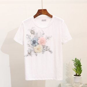 ZCWXM Heavy Work Embroidery 3D Flower Beading Women T shirts Summer O-Neck Casual 2020 New Short sleeve Tops